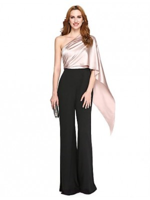 Mermaid Trumpet Sexy One Shoulder Floor Length Polyester Charmeuse Australia Formal Evening Dress with Side Draping