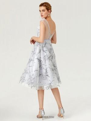 A Line Bateau Neck Knee Length Lace Tulle Australia Cocktail Party Dress with Pattern Print Sash Ribbon