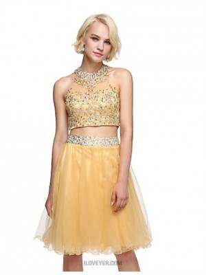 Ball Gown Jewel Neck Knee Length Lace Tulle Homecoming Prom Dress with Sequins