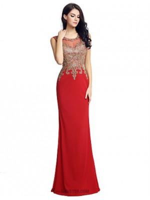 Mermaid Trumpet Jewel Neck Floor Length Velvet Australia Formal Evening Dress with Embroidery