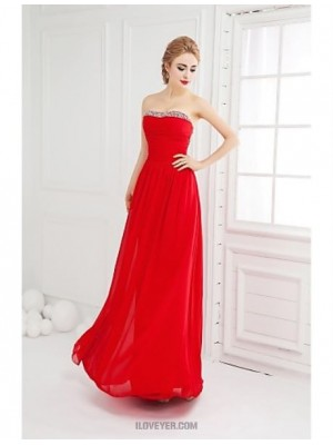 Ball Gown Strapless Floor Length Chiffon Prom Dress with Beading