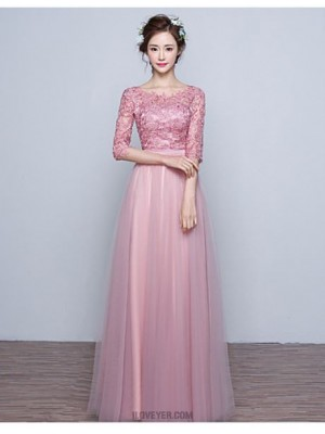 Ball Gown Jewel Neck Floor Length Lace Tulle Prom Dress