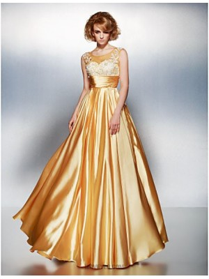 A Line Scoop Neck Floor Length Stretch Satin Prom Dress with Appliques Ruching