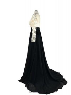 A Line Jewel Neck Court Train Chiffon Lace Australia Formal Evening Dress with Appliques Lace