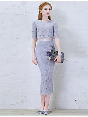 Sheath Column Jewel Neck Tea Length Lace Australia Cocktail Party Prom Dress with Lace