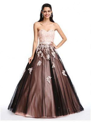 Ball Gown Sweetheart Floor Length Satin Tulle Prom Dress with Beading