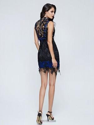 A Line High Neck Short Mini Lace Australia Cocktail Party Dress with Lace Pleats