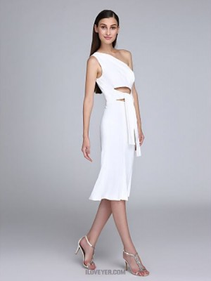 Sheath Column Sexy One Shoulder Knee Length Chiffon Australia Cocktail Party Homecoming Prom Dress with Pleats