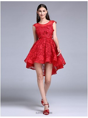 A Line Jewel Neck Knee Length Lace Australia Cocktail Party Homecoming Prom Dress with Lace