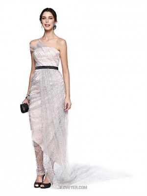 A Line Strapless Ankle Length Lace Satin Sequined Australia Cocktail Party Prom Dress with Pick Up Skirt Side Draping