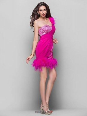 A Line Princess Sexy One Shoulder Short Mini Chiffon Stretch Satin Homecoming Prom Dress with Beading