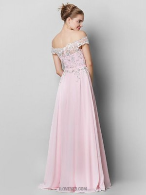 A Line Off the shoulder Floor Length Chiffon Prom Australia Formal Evening Dress with Appliques