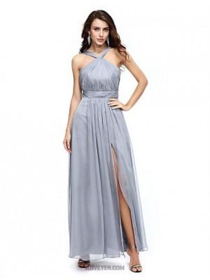 A Line Halter Floor Length Chiffon Australia Formal Evening Dress with Draping Split Front