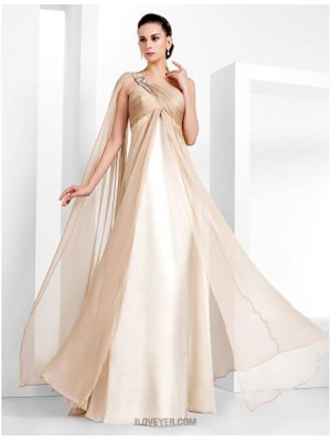 Sheath Column Sexy One Shoulder Floor Length Chiffon Evening Dress with Beading
