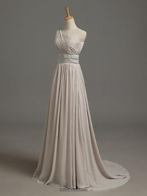 A Line Sexy One Shoulder Sweep Brush Train Chiffon Australia Formal Evening Dress with Beading Side Draping