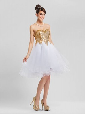 A Line Ball Gown Princess Strapless Sweetheart Knee Length Tulle Australia Cocktail Party Dress with Beading