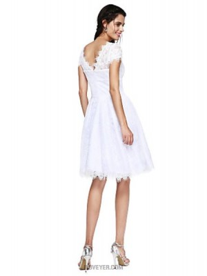 A Line Jewel Neck Knee Length Lace Australia Cocktail Party Prom Dress with Buttons Pleats