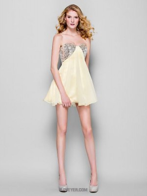 A Line Strapless Short Mini Chiffon Australia Cocktail Party Homecoming Prom Dress with Sequins