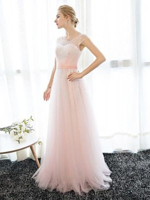 Sheath Column Scoop Neck Floor Length Chiffon Prom Dress with Crystal