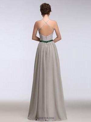 A Line Halter Floor Length Chiffon Australia Formal Evening Dress with Ruffles Criss Cross