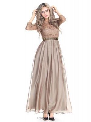A Line Jewel Neck Floor Length Chiffon Lace Australia Formal Evening Dress with Beading Lace Sash Ribbon