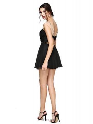 A Line Jewel Neck Short Mini Chiffon Australia Cocktail Party Prom Dress with Beading Criss Cross