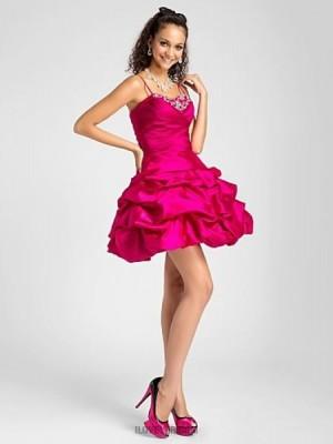 A Line Spaghetti Straps Sweetheart Short Mini Taffeta Prom Dress