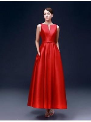 A Line Bateau Neck Ankle Length Satin Australia Formal Evening Dress with Pockets