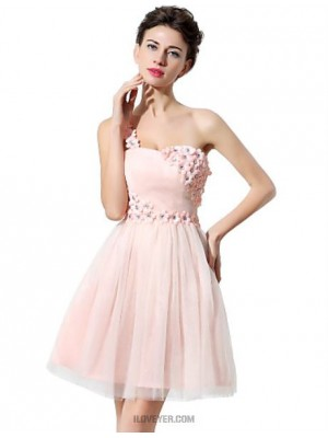 A Line Sexy One Shoulder Short Mini Tulle Australia Cocktail Party Homecoming Dress with Crystal Detailing Flower