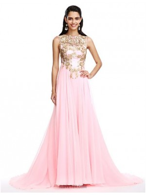 A Line Jewel Neck Sweep Brush Train Chiffon Australia Formal Evening Dress with Appliques Sequins