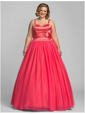 A Line Sweetheart Floor Length Tulle Prom Dress with Beading