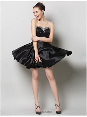 A Line Sweetheart Short Mini Charmeuse Sequined Australia Cocktail Party Prom Dress with Crystal Detailing Sequins