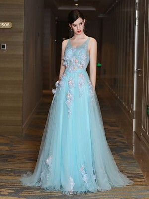 A Line High Neck Court Train Lace Satin Tulle Prom Dress with Beading