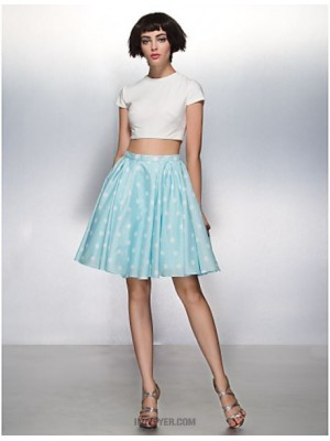 A Line Jewel Neck Knee Length Jersey Australia Cocktail Party Homecoming Prom Dress with Pattern Print