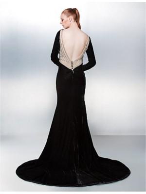 Mermaid Trumpet Bateau Neck Chapel Train Velvet Prom Australia Formal Evening Dress with Beading Bow Buttons