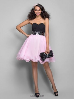 A Line Princess Sweetheart Short Mini Chiffon Organza Homecoming Prom Dress with Draping