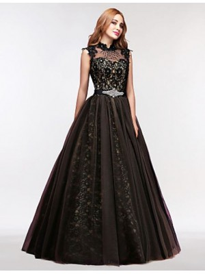 Ball Gown High Neck Floor Length Tulle Prom Dress with Crystal