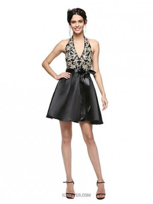 A Line Halter Short Mini Satin Australia Cocktail Party Homecoming Prom Dress with Appliques Bow Sash Ribbon