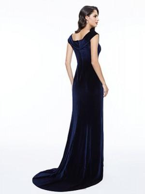 Sheath Column V neck Sweep Brush Train Velvet Australia Formal Evening Dress with Pleats