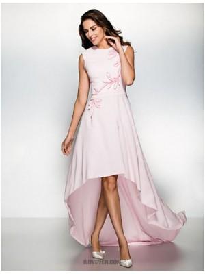 A Line Jewel Neck Asymmetrical Chiffon Australia Formal Evening Dress with Appliques