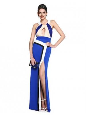 A Line Halter Floor Length Matte Satin Georgette Prom Australia Formal Evening Dress with Side Draping