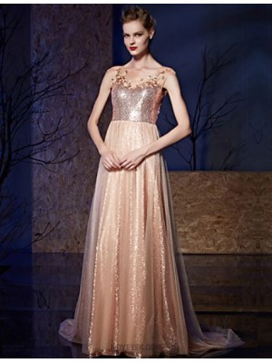 A Line Bateau Neck Court Train Tulle Sequined Prom Australia Formal Evening Dress with Appliques Sequins