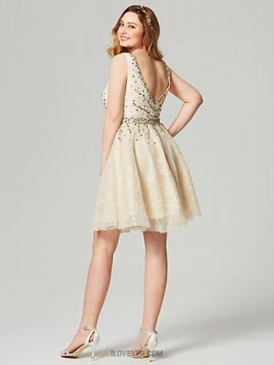 A Line V neck Knee Length Lace Australia Cocktail Party Homecoming Dress with Beading Sash Ribbon