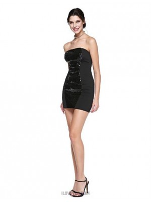 Sheath Column Strapless Short Mini Sequined Australia Cocktail Party Homecoming Prom Dress with Sequins