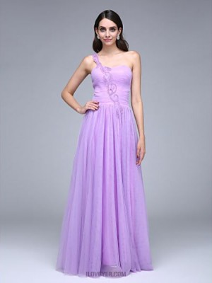 A Line Sexy One Shoulder Floor Length Tulle Prom Australia Formal Evening Dress with Beading Ruching