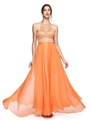 A Line Halter Floor Length Chiffon Prom Australia Formal Evening Dress with Beading