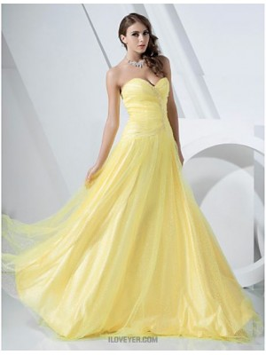 A Line Princess Strapless Sweetheart Floor Length Satin Tulle Prom Dress with Beading