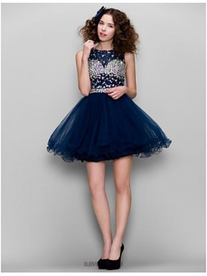 A Line High Neck Short Mini Tulle Homecoming Prom Dress with Beading
