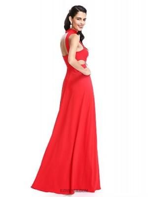 A Line Halter Floor Length Jersey Prom Australia Formal Evening Dress with Pleats