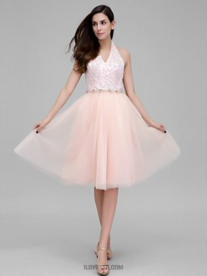 A Line Halter Knee Length Lace Tulle Australia Cocktail Party Prom Dress with Beading Lace Sash Ribbon
